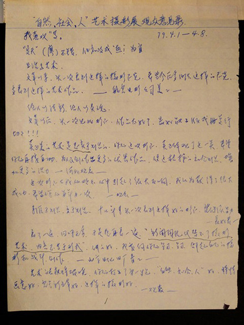 Fig. 29. Ren Shulin's copy of the audience comment book, 1979