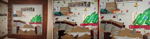 圖片:Sanchayan Ghosh,《Landscape of Violence Archived (Local to Global)》。 圖為展出於印度聖蒂尼克坦維斯瓦‧巴拉蒂大學美術學院Nandan Museum美術館展示架上的場域裝置作品局部特寫(2008年)。