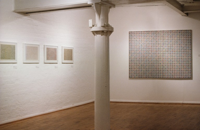 Works by Ding Yi presented at China Avantgarde exhibition at Museum of Modern Art, Oxford