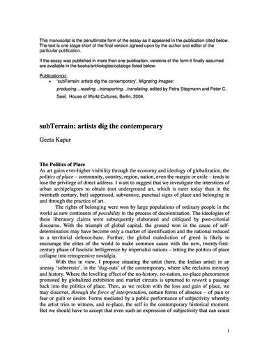 subTerrain: artists dig the contemporary (Short Version)
