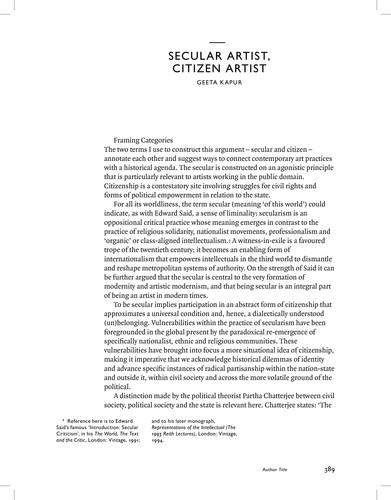 Secular Artist, Citizen Artist