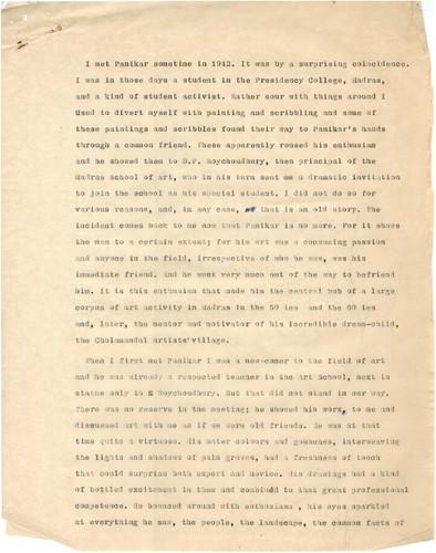 A Note on K.C.S. Paniker