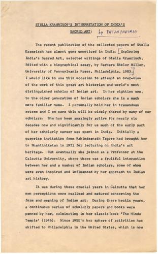 Stella Kramrisch's Interpretation of India's Sacred Art