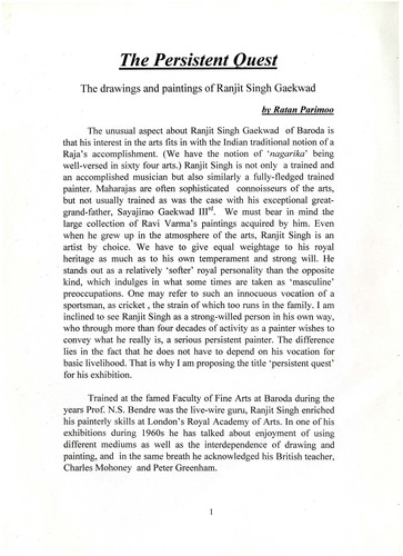 The Persistent Quest: The Drawings and Paintings of Ranjit Singh Gaekwad