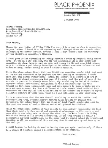 Letter from Rasheed Araeen to Andrew Dempsey, 9 August 1979