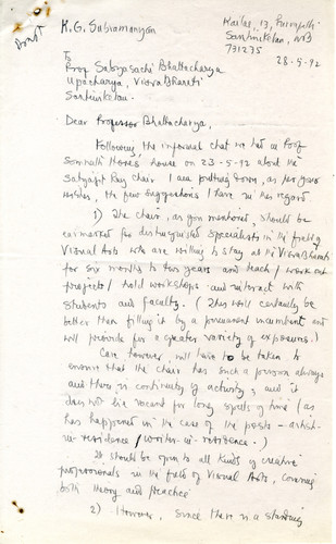 Letter from K.G. Subramanyan to Sabyasachi Bhattacharya, 28 May 1992