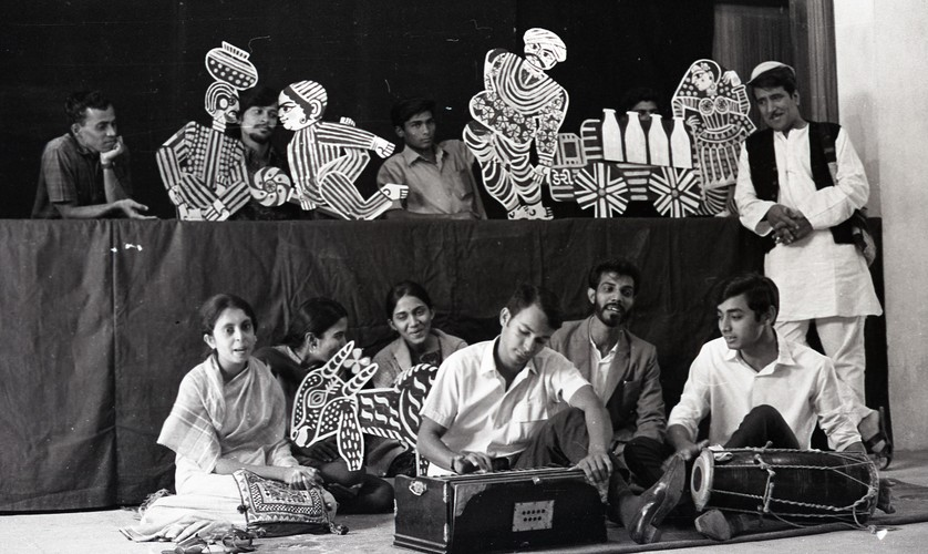 Musicians and Students with Puppets at the Fine Arts Fair, 1969