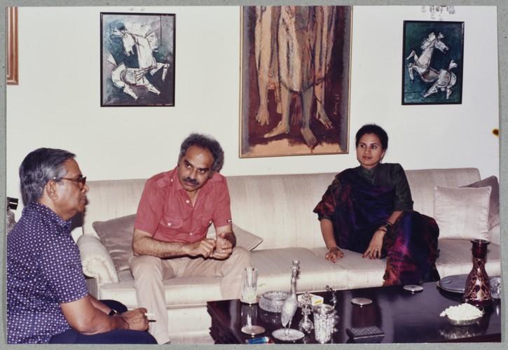Hamid Husain, Rasheed Araeen and Guest at Wahab Jaffer's Home