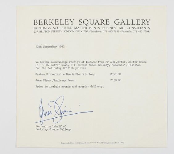 Receipt from Berkeley Square Gallery, 12 September 1992