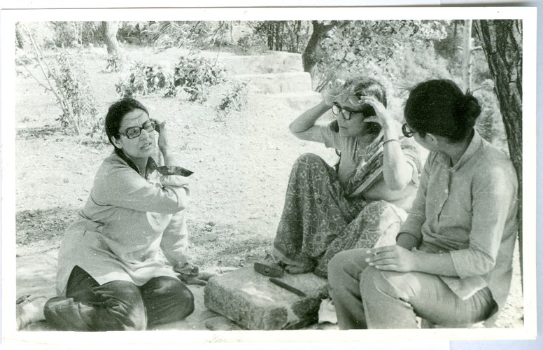 Image:  Geeta Kapur, Meera Mukherjee, and Gogi Saroj Pal at the Kasauli Art Centre Artist Workshop.